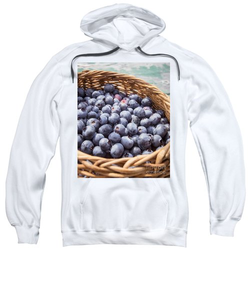 Basket Of Fresh Picked Blueberries Sweatshirt by Edward Fielding