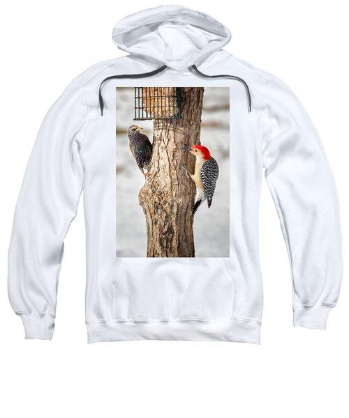 Bird Feeder Stand Off Sweatshirt by Bill Wakeley