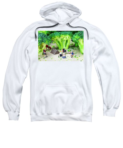 Camping Among Broccoli Jungles Miniature Art Sweatshirt by Paul Ge