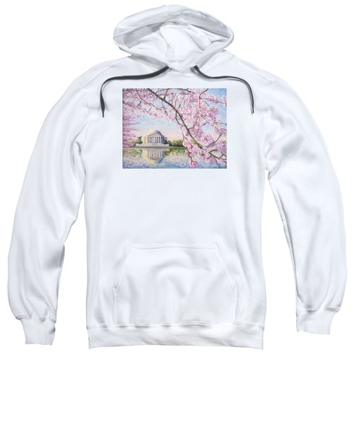 Jefferson Memorial Cherry Blossoms Sweatshirt by Patty Kay Hall