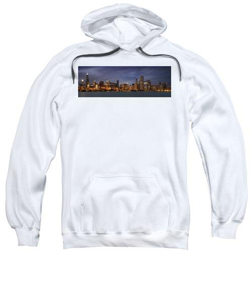 Chicago Skyline At Night Color Panoramic Sweatshirt by Adam Romanowicz