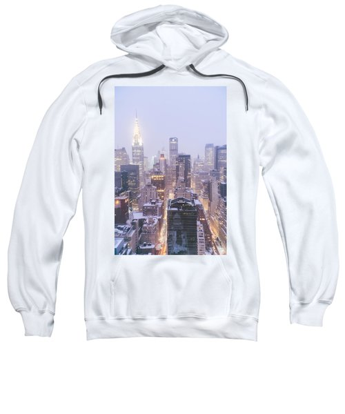 Chrysler Building And Skyscrapers Covered In Snow - New York City Sweatshirt by Vivienne Gucwa