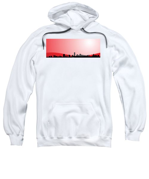 Cityscapes - Miami Skyline In Black On Red Sweatshirt by Serge Averbukh