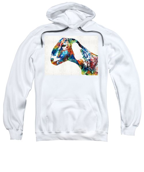 Colorful Goat Art By Sharon Cummings Sweatshirt by Sharon Cummings