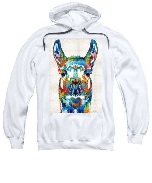 Colorful Llama Art - The Prince - By Sharon Cummings Sweatshirt by Sharon Cummings