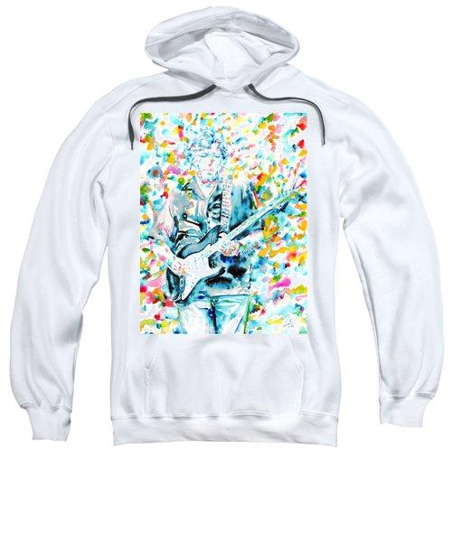 Eric Clapton - Watercolor Portrait Sweatshirt by Fabrizio Cassetta