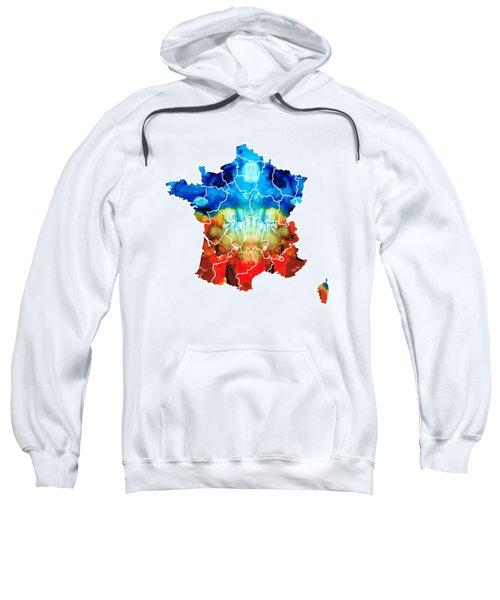 France - European Map By Sharon Cummings Sweatshirt by Sharon Cummings