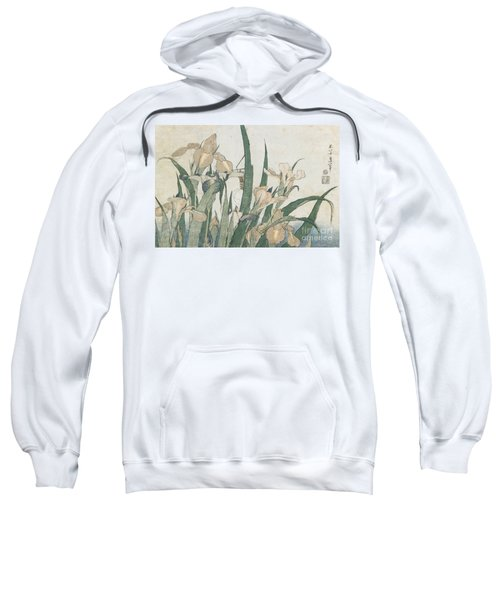Iris Flowers And Grasshopper Sweatshirt by Hokusai