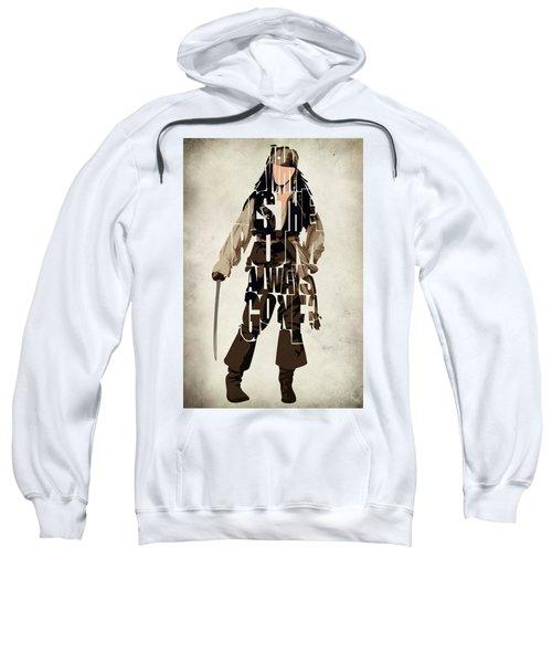 Jack Sparrow Inspired Pirates Of The Caribbean Typographic Poster Sweatshirt by Ayse Deniz
