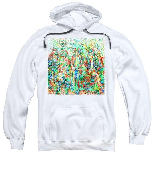 Led Zeppelin - Watercolor Portrait.1 Sweatshirt by Fabrizio Cassetta