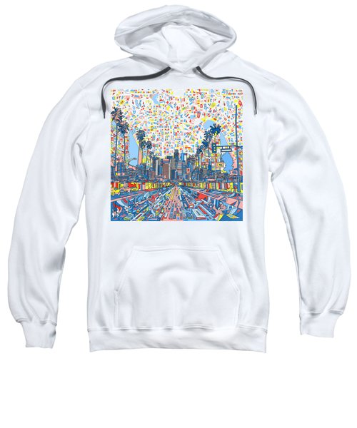 Los Angeles Skyline Abstract 3 Sweatshirt by Bekim Art