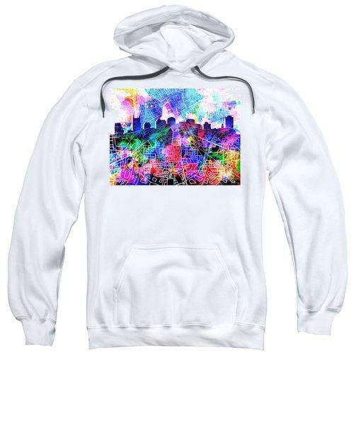 Nashville Skyline Watercolor 5 Sweatshirt by Bekim Art