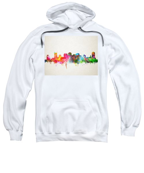 Nashville Skyline Watercolor 9 Sweatshirt by Bekim Art