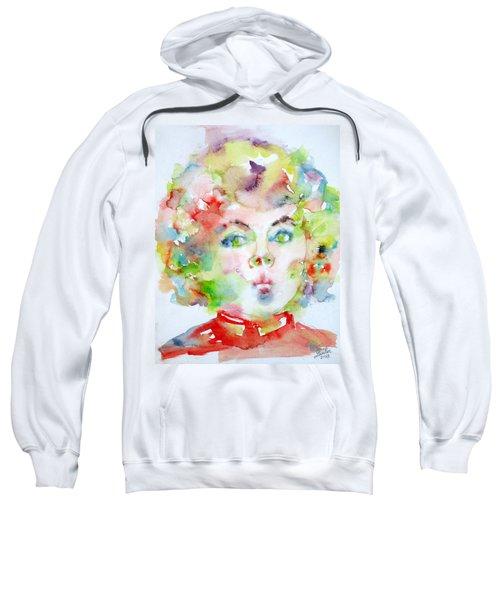 Shirley Temple - Watercolor Portrait.2 Sweatshirt by Fabrizio Cassetta