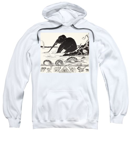 The Elephant's Child Having His Nose Pulled By The Crocodile Sweatshirt by Joseph Rudyard Kipling