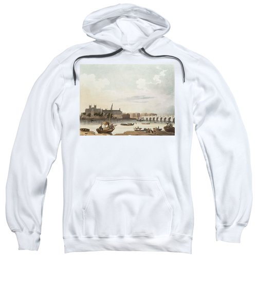 View Of Westminster And The Bridge Wc On Paper Sweatshirt by English School