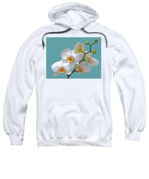 White Orchids On Ocean Blue Sweatshirt by Gill Billington