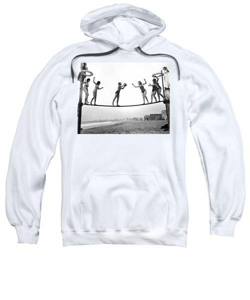 Women Play Beach Basketball Sweatshirt by Underwood Archives