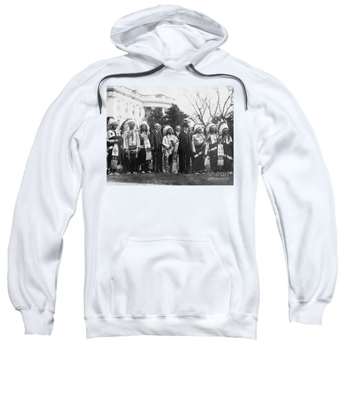 Coolidge With Native Americans Sweatshirt by Photo Researchers