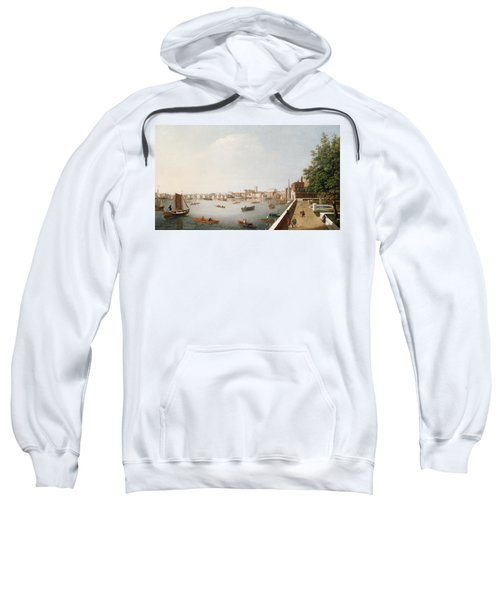 View Of The River Thames From The Adelphi Terrace  Sweatshirt by William James