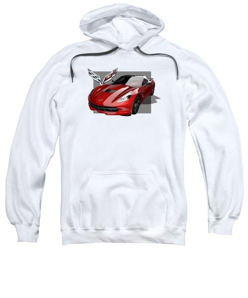 Chevrolet Corvette  C 7  Stingray With 3 D Badge  Sweatshirt by Serge Averbukh