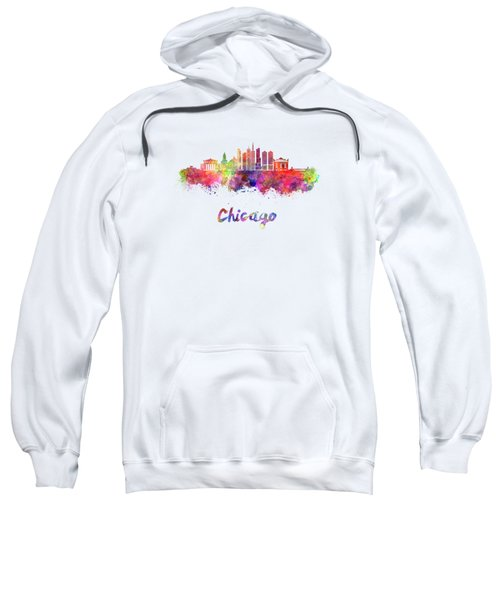 Chicago Skyline In Watercolor Sweatshirt by Pablo Romero