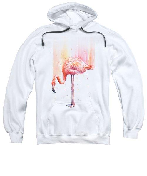 Pink Flamingo Watercolor Rain Sweatshirt by Olga Shvartsur