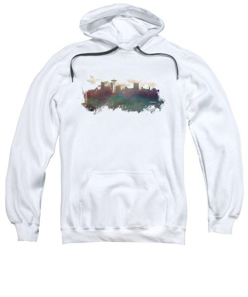 Seattle Washington Skyline Sweatshirt by Justyna JBJart