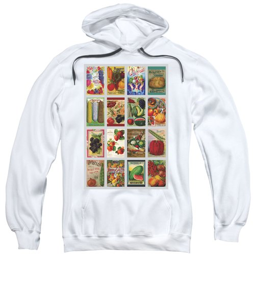 Vintage Farm Seed Packs Sweatshirt by Debbie Karnes