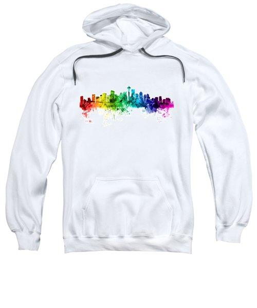 Seattle Washington Skyline Sweatshirt by Michael Tompsett