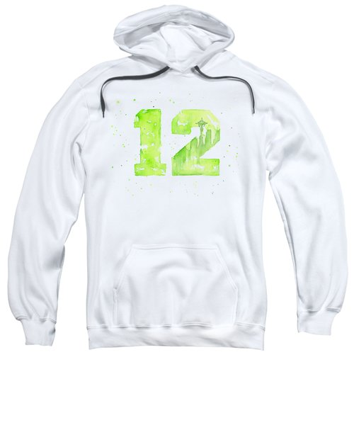 12th Man Seahawks Art Go Hawks Sweatshirt by Olga Shvartsur