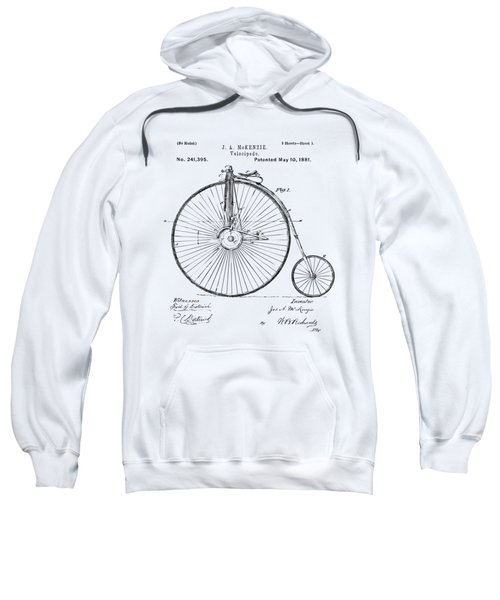 1881 Velocipede Bicycle Patent Artwork - Vintage Sweatshirt by Nikki Marie Smith
