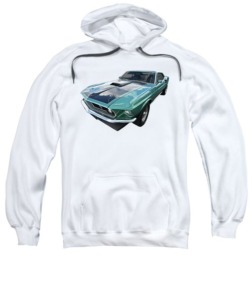 1969 Green 428 Mach 1 Cobra Jet Ford Mustang Sweatshirt by Gill Billington