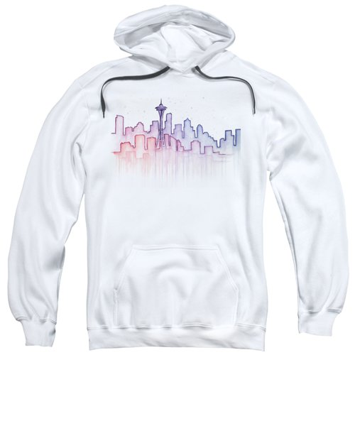 Seattle Skyline Watercolor Sweatshirt by Olga Shvartsur