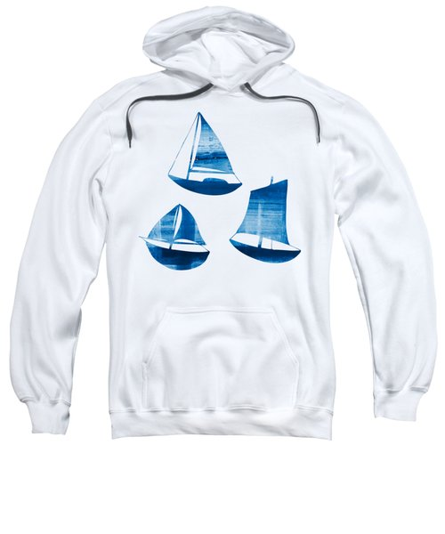 3 Little Blue Sailing Boats Sweatshirt by Frank Tschakert