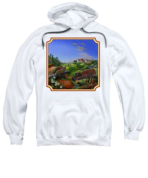 Americana Decor - Springtime On The Farm Country Life Landscape - Square Format Sweatshirt by Walt Curlee