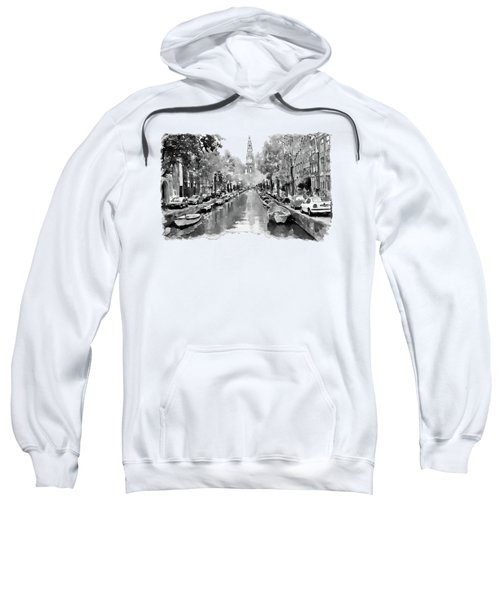 Amsterdam Canal 2 Black And White Sweatshirt by Marian Voicu