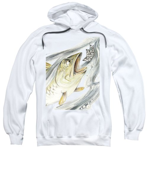 Angry Fish Ready To Swallow Tin Soldier's Paper Boat - Horizontal - Fairy Tale Illustration Fragment Sweatshirt by Elena Abdulaeva
