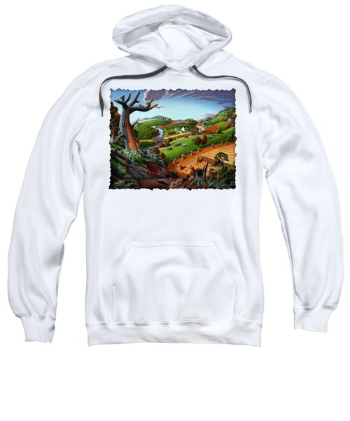 Appalachian Fall Thanksgiving Wheat Field Harvest Farm Landscape Painting - Rural Americana - Autumn Sweatshirt by Walt Curlee