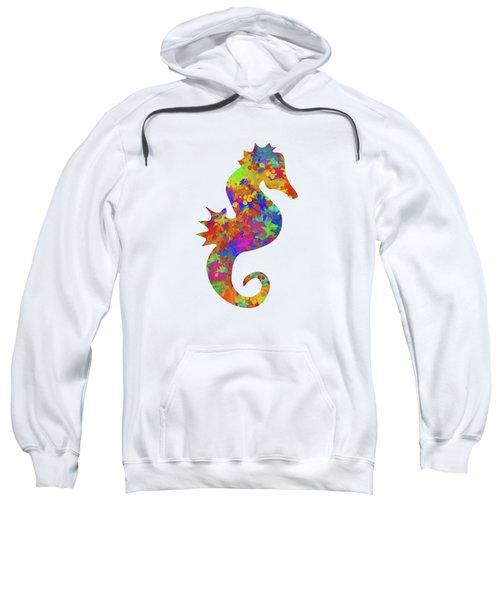 Seahorse Watercolor Art Sweatshirt by Christina Rollo