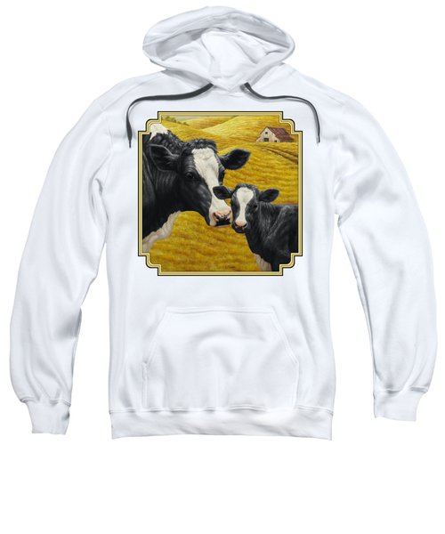 Holstein Cow And Calf Farm Sweatshirt by Crista Forest