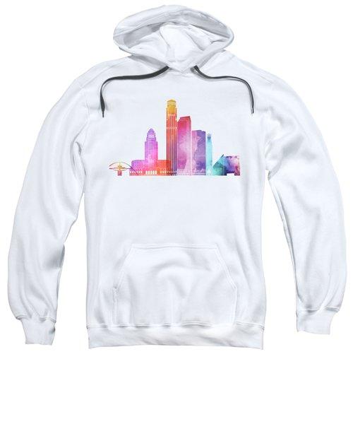 Los Angeles Landmarks Watercolor Poster Sweatshirt by Pablo Romero