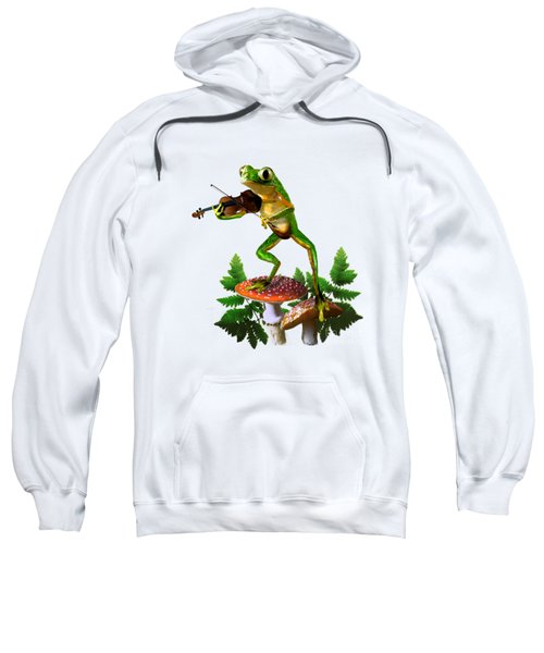 Humorous Tree Frog Playing A Fiddle Sweatshirt by Regina Femrite