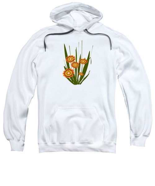 Orange Flowers Sweatshirt by Anastasiya Malakhova