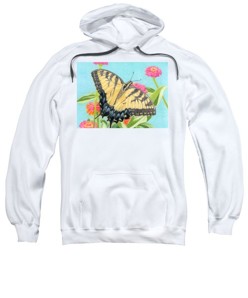 Swallowtail Butterfly And Zinnias Sweatshirt by Sarah Batalka