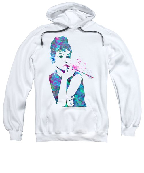 Audrey Hepburn Watercolor Pop Art  Sweatshirt by Mary Alhadif