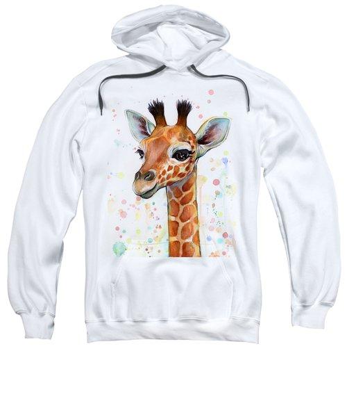 Baby Giraffe Watercolor  Sweatshirt by Olga Shvartsur
