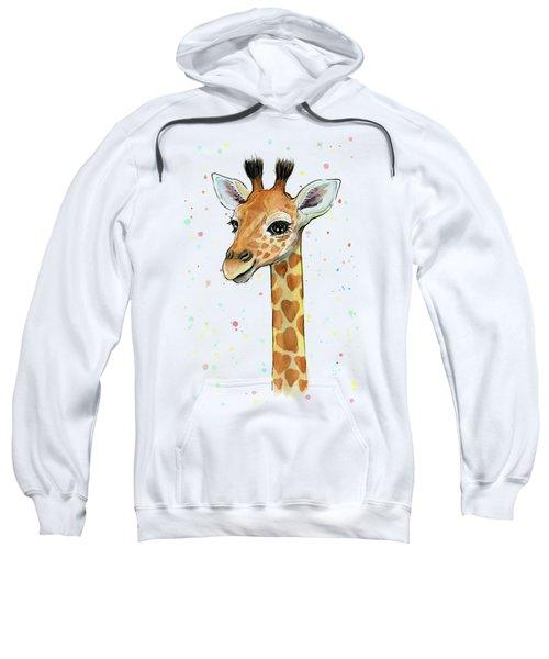 Baby Giraffe Watercolor With Heart Shaped Spots Sweatshirt by Olga Shvartsur