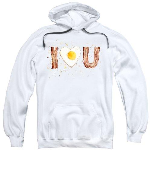 Bacon And Egg I Heart You Watercolor Sweatshirt by Olga Shvartsur