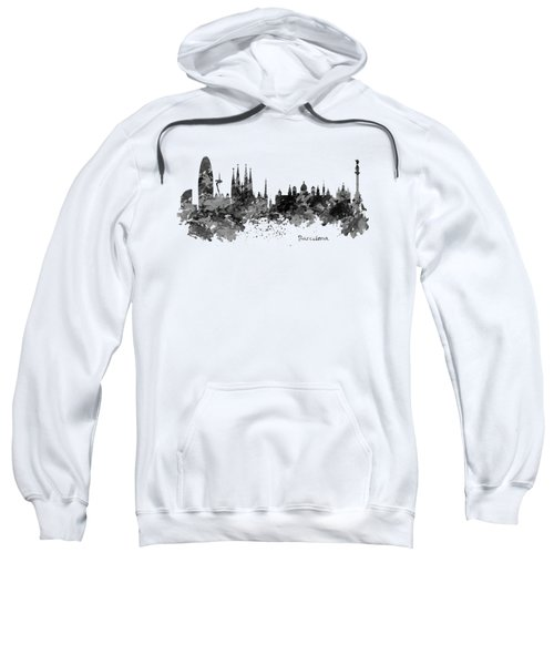 Barcelona Black And White Watercolor Skyline Sweatshirt by Marian Voicu